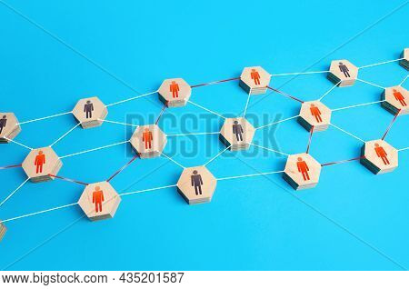 Communication Through A Chain Of People. Cocenpt For The Transmission Of Information. Involvement An