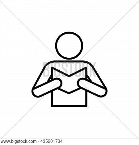 Simple Black Icon Man Reading Book. Front Side. Reading Concept. Trendy Flat Isolated Outline Symbol