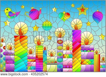 An Illustration In The Style Of A Stained Glass Window On The Theme Of New Year And Christmas With B