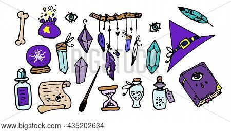 A Set Of Witches' Magic Of Bright Color. Isolated Items Of Magical Craft, Turquoise And Purple, Hat,