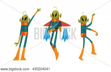 Funny Green Alien Visitor With Antenna Standing And Holding Weapon Vector Set
