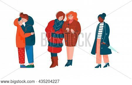 People Character Walking Along The Street In Spring Season Vector Illustration Set