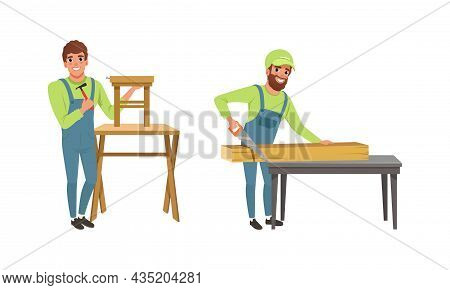 Professional Man Carpenter In Overall Hammering Nail And Sawing Wooden Block Vector Set