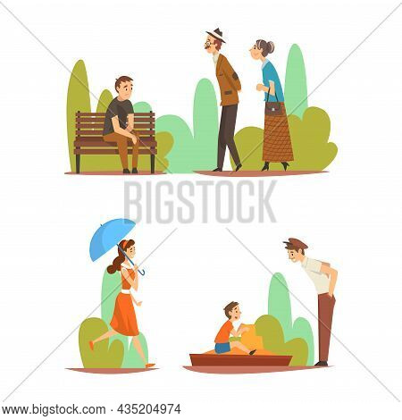 People Character Enjoying Outdoor Walk Sitting On Bench In The Park And Strolling Vector Set
