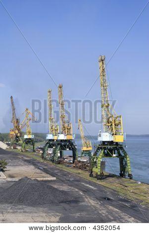 Cranes on the Danube river - port Svishtov Bulgaria poster