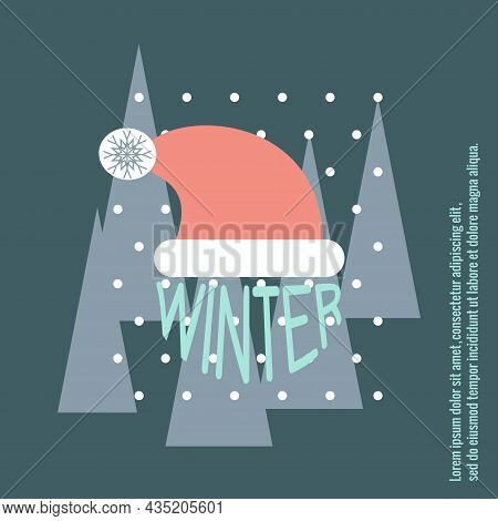 Season Is Winter. Simple Background For Banner Design, Winter Sale, Holiday Cards. Vector Illustrati