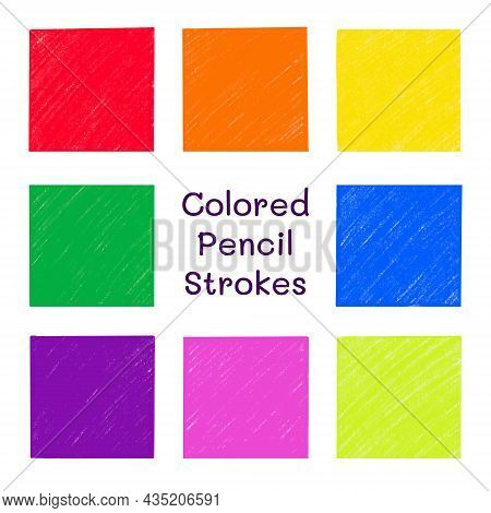 Colored Pencil Strokes Vector Set. Crayon Texture Background Collection Isolated On White. Hand Draw