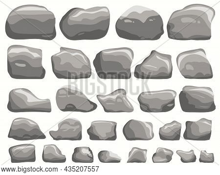 Stone Rock Cartoon In Flat Style. Set Of Different Boulders