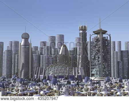 Futuristic Mega City Skyline Architecture With Metallic Structures, For Science Fiction Backgrounds.