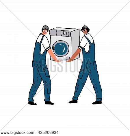 Movers Carrying A Washing Machine On Their Hands.