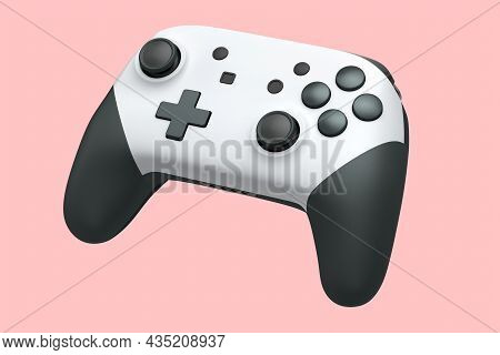 Realistic White Joystick For Video Game Controller On Pink Background