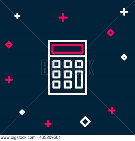 Line Calculator Icon Isolated On Blue Background. Accounting Symbol. Business Calculations Mathemati