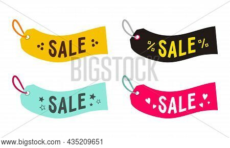 Set Of Labels For Discounts. Multicolored Tags With The Inscription Sale. Vector Illustration For Ba