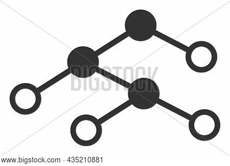 Nodes Structure Icon With Flat Style. Isolated Vector Nodes Structure Icon Illustrations, Simple Sty