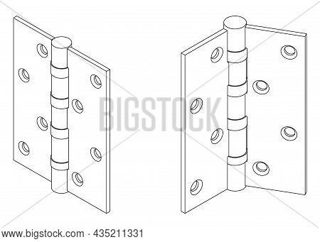 Vector Steel Isometric Butt Door Hinge Outline Illustration