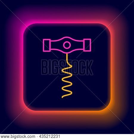 Glowing Neon Line Wine Corkscrew Icon Isolated On Black Background. Colorful Outline Concept. Vector