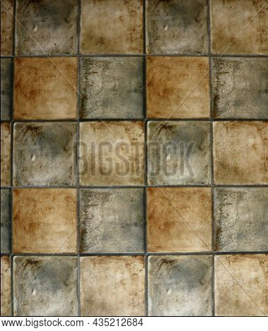Tiled Background Of Brown And Gray Squares, Stone Floor With Geometric Pattern, Stone Ceramic Tiles
