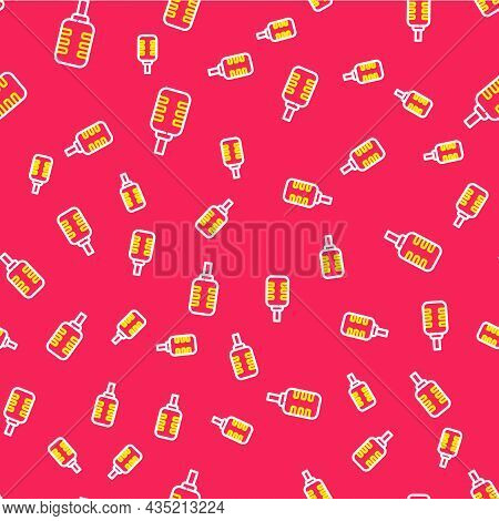 Line Microphone Icon Isolated Seamless Pattern On Red Background. On Air Radio Mic Microphone. Speak