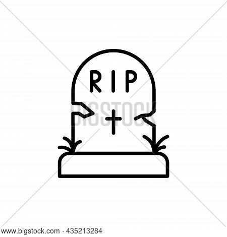 Black Tombstone On Grave With Text Rip Line Icon. Halloween Grave Outline Pictogram. Headstone With