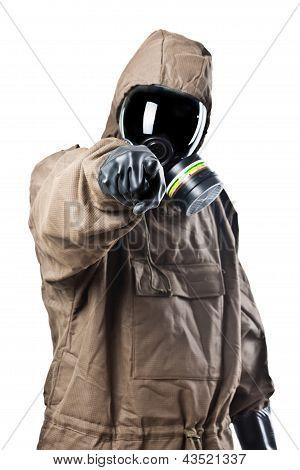 Man In Hazard Suit Pointing