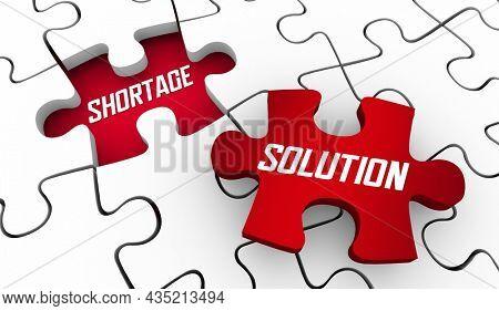 Shortage Solution Fix Low Supply Outages Puzzle Piece Fix Problem Solved 3d Illustration