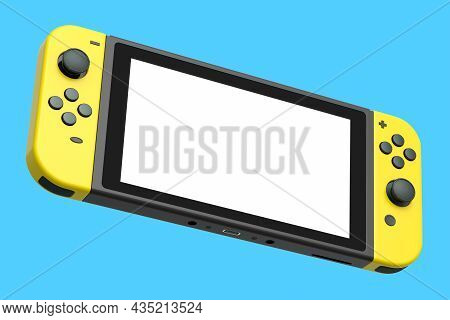 Realistic Video Game Controllers Attached To Mobile Phone On Blue Background