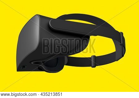 Virtual Black Reality Glasses Isolated On Yellow Background. 3D Rendering