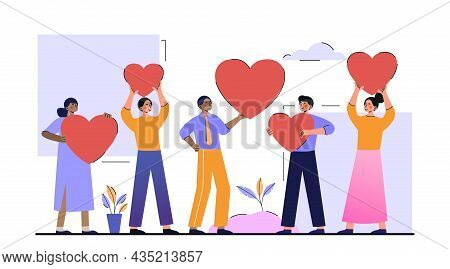Customer Reviews Rating. Satisfied Customers Put Their Hearts On Product Or Service. Characters Leav