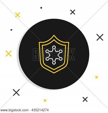 Line Police Badge Icon Isolated On White Background. Sheriff Badge Sign. Colorful Outline Concept. V