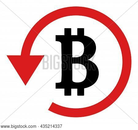 Bitcoin Refund Icon With Flat Style. Isolated Vector Bitcoin Refund Icon Image, Simple Style.