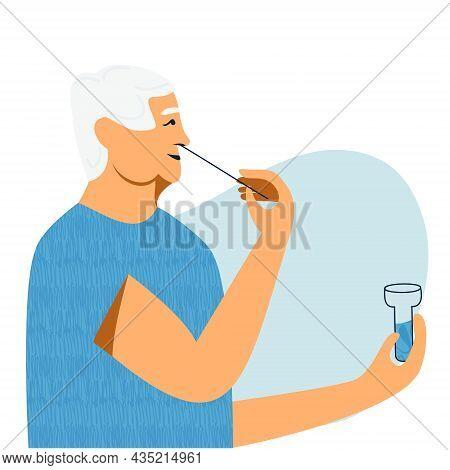 Covid Nasal Pcr Swab Rapid Self Test. Senior Man Using Antigen Test Kit With Self-administered Swab.