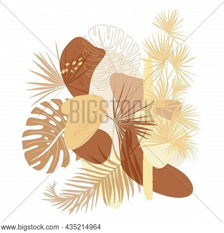 Modern Poster With Natural Shapes And Natural Shades With Dry Leaves For Fabric And Surface Design
