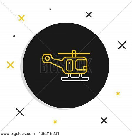 Line Rescue Helicopter Aircraft Vehicle Icon Isolated On White Background. Colorful Outline Concept.