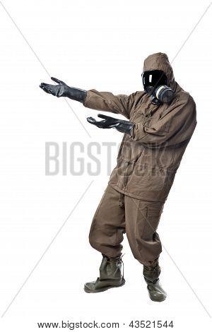 Man In Hazard Suit Showing Something