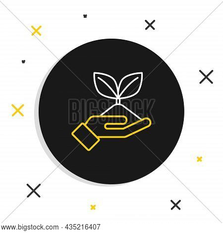 Line Plant In Hand Of Environmental Protection Icon Isolated On White Background. Seed And Seedling.