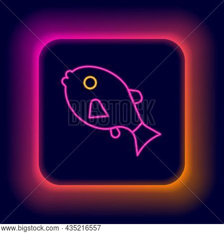 Glowing Neon Line Tropical Fish Icon Isolated On Black Background. Exotic Fish. Colorful Outline Con