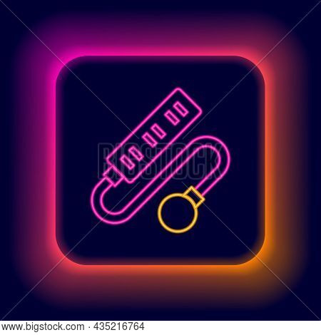 Glowing Neon Line Electric Extension Cord Icon Isolated On Black Background. Power Plug Socket. Colo