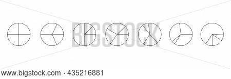Graphic Circles Divided In 4 Segments Isolated On White Background. Pie Chart Infographic Examples.