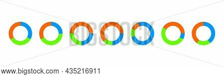 Donut Chart Examples. Circle Diagrams Divided In 3 Sections Of Different Colors. Simple Infographic