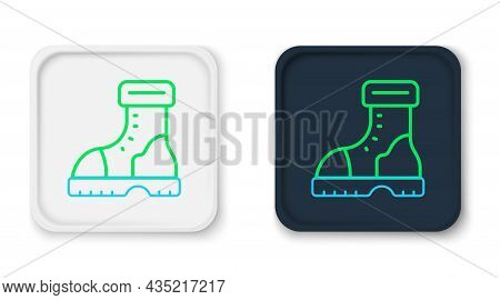 Line Waterproof Rubber Boot Icon Isolated On White Background. Gumboots For Rainy Weather, Fishing,