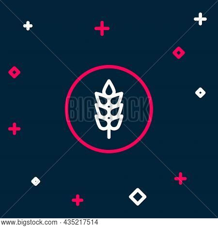 Line Cereals Set With Rice, Wheat, Corn, Oats, Rye, Barley Icon Isolated On Blue Background. Ears Of