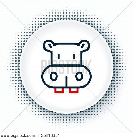 Line Hippo Or Hippopotamus Icon Isolated On White Background. Animal Symbol. Colorful Outline Concep