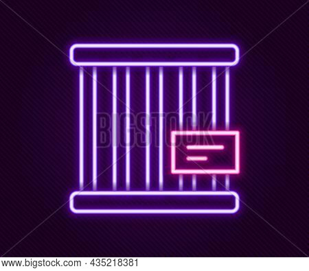 Glowing Neon Line Animal Cage Icon Isolated On Black Background. Colorful Outline Concept. Vector