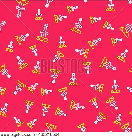 Line Sword In The Stone Icon Isolated Seamless Pattern On Red Background. Excalibur The Sword In The