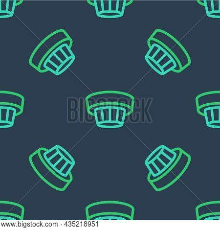 Line Smoke Alarm System Icon Isolated Seamless Pattern On Blue Background. Smoke Detector. Vector