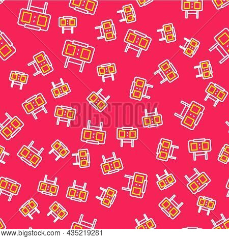 Line Sport Mechanical Scoreboard And Result Display Icon Isolated Seamless Pattern On Red Background