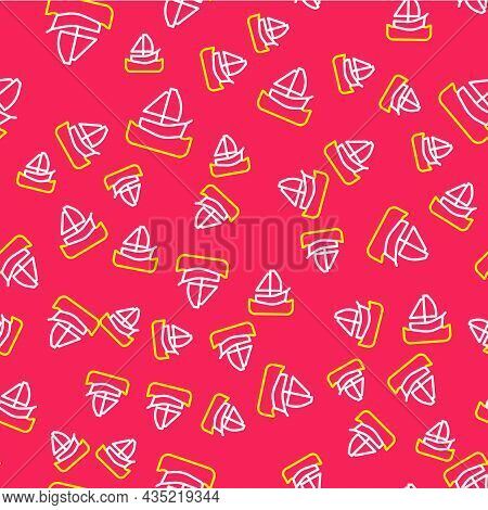 Line Yacht Sailboat Or Sailing Ship Icon Isolated Seamless Pattern On Red Background. Sail Boat Mari