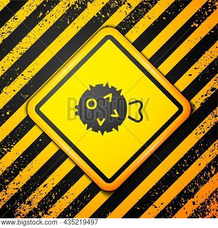 Black Fish Hedgehog Icon Isolated On Yellow Background. Warning Sign. Vector