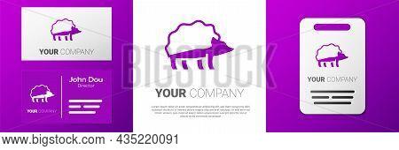 Logotype Hedgehog Icon Isolated On White Background. Animal Symbol. Logo Design Template Element. Ve