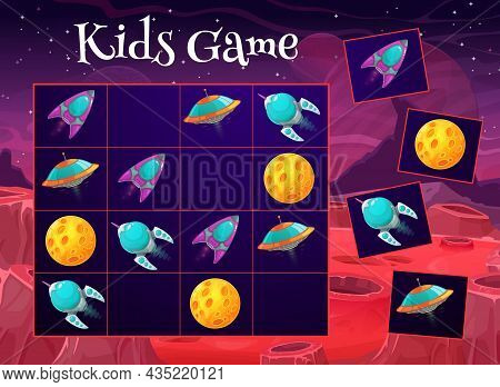 Space Sudoku Game. Kids Maze, Children Logical Puzzle Or Rebus With Cartoon Vector Ufo Flying Saucer